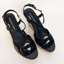 Franco Sarto Cork Wedge Sling Back Heels Size 8M Black Patent Sandals