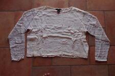 Shirt von H&M _ Gr. 40 __ kurz geschnitten mit Ärmeln aus Spitze