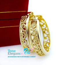 18k yellow gold GF hoop  dangle antique filigree style solid earrings wedding