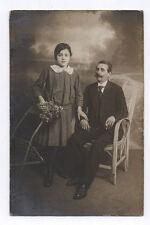 PHOTO ANCIENNE Curiosité Midget Lyon Aveugle Blind Fleurs Père Fille Vers 1910