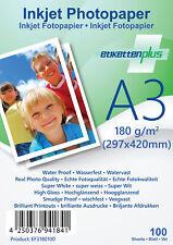 100 Blatt Fotopapier Fotokarten A3 180g/m² weiß glänzend glossy Photopapier