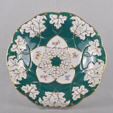Meissen Ceremonial Plate / Bowl Russian Green & Scattered Flowers, Prunk