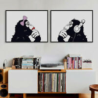 Modern Black White Gorilla Music Posters Home Decor Wall Art Canvas Oil Painting