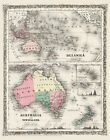 "Map of Australia & Oceania 1800's CANVAS PRINT Antique Vintage 24""X16"""