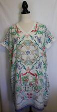 SPORTSCRAFT ~ White Pink Green Tropical Sea Jewels Print Loose Shift Dress S M