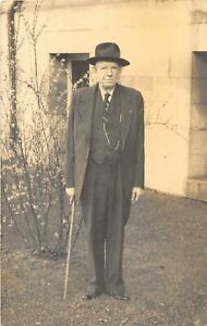 H48/ Mountain Home Tennessee Postcard RPPC 1951 Bob Henderson Man Cane