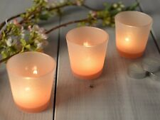 Set of 3 MIKASA Hush OMBRE PINK Frosted Glass TEA LIGHT HOLDERS