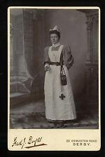 Antique Cabinet Photograph Nurse Holding Medicine Glass Boer War Period