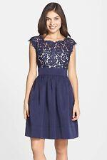 NWT $148 Eliza J Lace & Faille Cap Sleeve Dress Navy Black & Blush 10 12 14 16 P