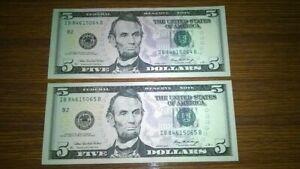 USA:(2006) Five Dollar Banknote Consecutive pair