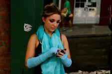 "Silk Cashmere knit Fingerless Warm Gloves Light Blue 16"" long OneSize Unisex"