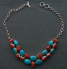 """VINTAGE SILVER TURQUOISE CORAL NECKLACE 18"""" FINE SOLID 925 STERLING"""
