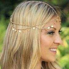 Bohemia Women Multilayer Wafer Tassel Gold Chain Jewelry Hair Band Headband Gift