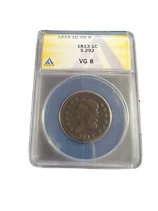 1813 Classic Head Large Cent  S 292 ANACS VG 8