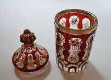 1890's ANTIQUE FACET RUBY RED GLASS GILD PAINTING VASE CUP BOWL OTTOMAN MARKET