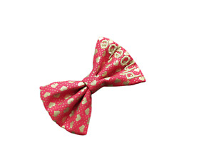 Personalised Dog Cat Bow Tie - Metallic Gold Hearts on Red - Wedding - 5 sizes