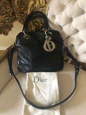 Authentic CHRISTIAN DIOR Granville Cannage crossbody handbag leather black