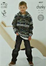 Tejer patrón niñas/niños fácil de Punto Mangas Largas Con Capucha Grueso King Cole 4027