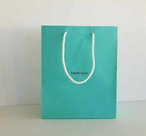 """Tiffany & Co Blue Bag Shopping Tote Paper Medium 9.5""""H x 8""""W x 4""""D New Authentic"""