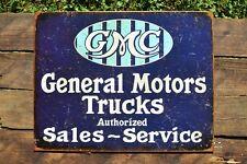 General Motors Trucks Authorized Sales & Service Tin Metal Sign - GMC - Dealer