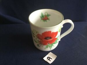 Royal Worcester Poppies mug (wear to green rim in places ) A