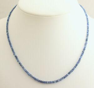 Natural Sapphire Necklace Precious Stone Beads Saphir - Blue 925 Silver 17