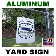 LARGE METAL Brinks home security system burglar alarm warning yard fence sign
