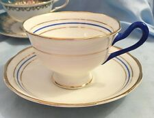 Royal Albert Crown China Blue White Gold Tea Cup and Saucer Blue Handle