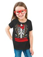 Day of The Dead Halloween Skeleton Costume Toddler/Kids Girls' Fitted T-Shirt de