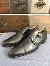 Magnanni Double Monk Strap Black Shoes 11677 Sz 8.5 M