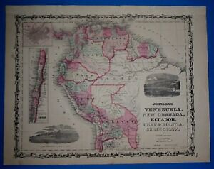 Vintage 1863 VENEZUELA - PERU Map ~ Old Antique Original Johnson's Atlas Map