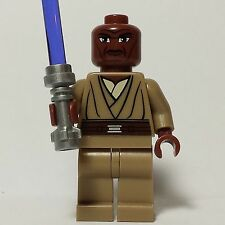 LEGO STAR WARS JEDI MACE WINDU MINIFIG W/ PURPLE LIGHTSABER FROM SET 7868 & 8019