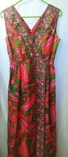VTG 70's Vibrant Maxi Evening FESTIVAL Dress Gown PINK RED MOD Size 12