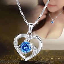 2021 Fashion Heart Silver Necklace Pendant for Women White Sapphire Jewlery Gift