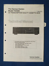 HARMAN KARDON TD4200 CASSETTE TECHNICAL SERVICE MANUAL ORIGINAL THE REAL THING