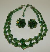 Vintage Green Austrian Crystal 2-Strand Choker Necklace & Clip Earrings Set