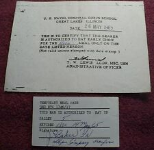 Great Lakes Naval Hospital/9ND NTC One-Day Meal Passes Vintage Militaria 1965