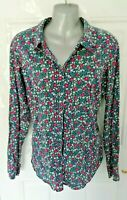 ❤ JOULES Size 14 (US 10) Navy Blue Pink Green Floral Button Up Shirt Blouse Top