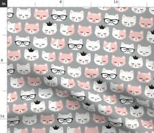 Cat Faces Light Pink Gray Heads Lovers Cute Cats Spoonflower Fabric by the Yard