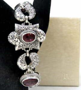 "Sarda 925 Bracelet Cherry Quartz 7.5-8.5"" Sterling Silver Pebble & Bali Design"