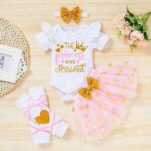 Newborn Baby Girl Letter Print Romper+Tutu Skirt+Headband+Legging Warmer Outfits