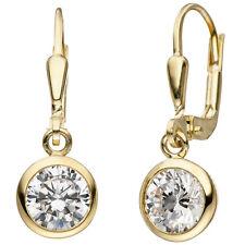 Ohrhänger 925 Sterling Silber gold vergoldet 2 Zirkonia Ohrringe.