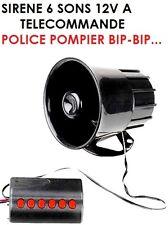 SIRENE ELECTRONIQUE TELECOMMANDE 115DB 20W! 6 SONS POMPIER POLICE SIRENE BIP BIP