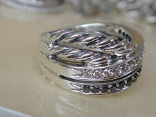 DAVID YURMAN STERLING BLACK & WHITE DIAMOND RING