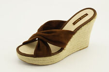 NEW Nine West Jocelyn Brown Suede Wedge Sandals sz 10 Shoes Slip On