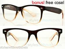 RETRO 80S CLEAR LENS BROWN FRAME NERD GEEK Sm/Med Hipster Glasses Sunglasses