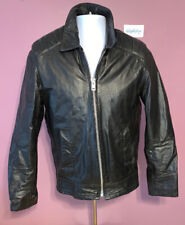 Excelled Leather Jacket Cafe Racer Vintage Black Size Mens 36R w/ Zip Fur Lining