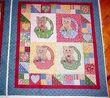 Little Quilts Kitten Cat Fabric Panel Calico Patchwork Cheater diy fabriquilt
