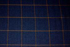 Navy Blue Faux Wool Window Pane Plaid Kaufmann Fabric Strut Navy