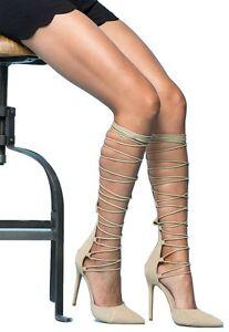 Shoe Republic LA Nude Red Lace up Knee high Pump Stiletto Heels Women's shoes